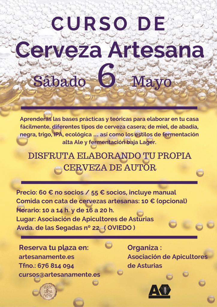 cartel de curso de cerveza en Oviedo