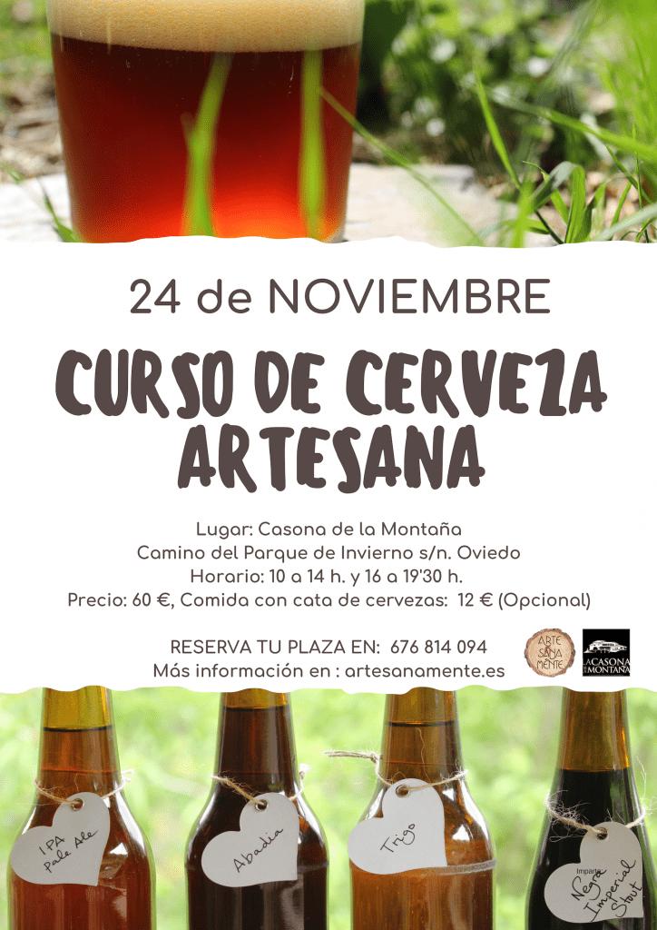cartel para anunciar un curso de cerveza artesana con imágenes de cervezas caseras y la información del curso