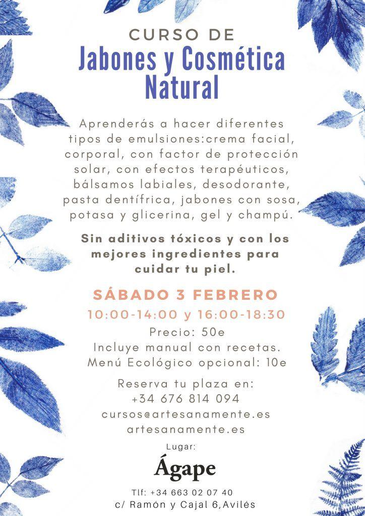 cartel de curso de cosmética natural en agape en avilés