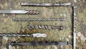 diferentes muestras de torcidos en forja artesanal