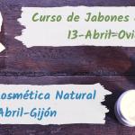 paquetes de jabones artesanos y muestra de cremas caseras para anunciar curso de jabones y curso de cosmetica natural